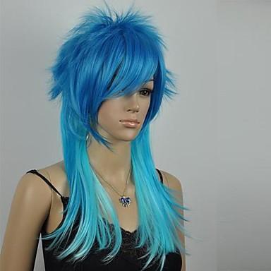 женская отлично синий смешанная прямо пор, косплей парик