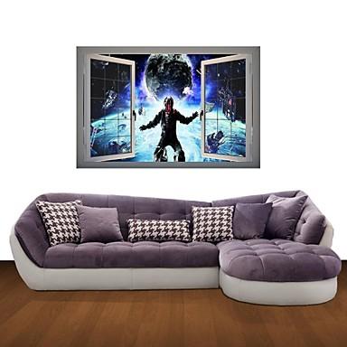 3D Wall Stickers Wall Decals, Astronaut in Space Decor Vinyl Wall Stickers