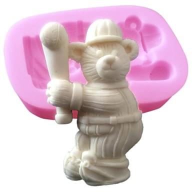 3d gâteau en silicone moule décoration moule le sport ours de baseball en silicone pour chocolat fondant savon arts&artisanat