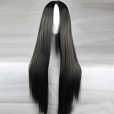 povoljno Perike i ekstenzije-Sintetičke perike Ravan kroj Kardashian Stil Asimetrična frizura Capless Perika Crna Crn Sintentička kosa 28 inch Žene Prirodna linija za kosu Crna Perika Dug