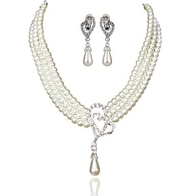 Női Gyöngyutánzat Hamis gyémánt Rövid nyakláncok  -  Alap Divat Geometric Shape Bézs Nyakláncok Kompatibilitás Esküvő Parti Születésnap