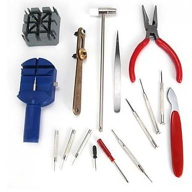 16 stykker reparasjonsverktøy kombinasjon sett / klokke / klokke reparasjon / justering stropp / bord tilbake dekselet åpent