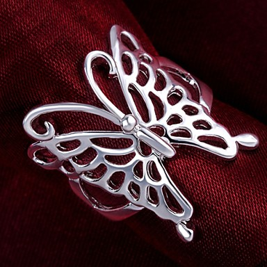 Women's Hollow Out Statement Ring - Sterling Silver Butterfly, Animal 7 / 8 For Wedding / Party / Daily