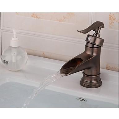 Çağdaş Tek Gövdeli Seramik Vana Tek Delik Tek Kolu Bir Delik Antik Bakır , Banyo Lavabo Bataryası