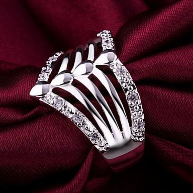 Kadın's İfadeli Yüzükler Kristal Lüks Som Gümüş Simüle Elmas Mücevher Düğün Parti Günlük