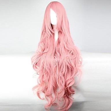 Synthetische Perücken Damen Locken / Wellen / Wogende Wellen Rosa Asymmetrischer Haarschnitt Synthetische Haare 28 Zoll Natürlicher Haaransatz Rosa Perücke Lang Kappenlos Rosa