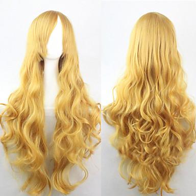 Synthetische Perücken Locken / Lose gewellt / Natürlich gewellt Gold Asymmetrischer Haarschnitt Synthetische Haare 25 Zoll Natürlicher Haaransatz Gold Perücke Damen Lang Kappenlos Gelb