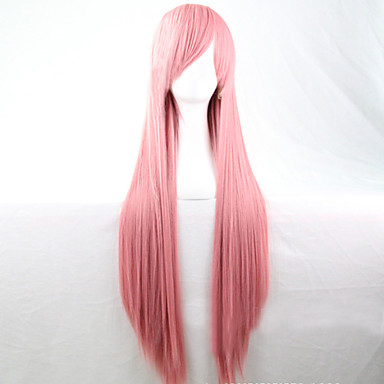 Sentetik Peruklar Düz Asimetrik Saç Kesimi Sentetik Saç Doğal saç çizgisi Pembe Peruk Kadın's Uzun Bonesiz