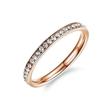 Fashion Crystal Women's Rose Titanium Steel Band Rings(1 Pc)