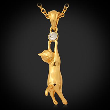 Damen Synthetischer Diamant Strass vergoldet Diamantimitate Anhängerketten  -  Modisch Gold Modische Halsketten Für Hochzeit Party Alltag