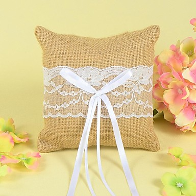 Bowknot Lace Linen Ring Pillow Garden Theme