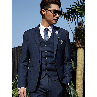 Tuxedos Tailored Fit Peak Single Breasted One-button Cotton Polyester Stripes 3 Pieces
