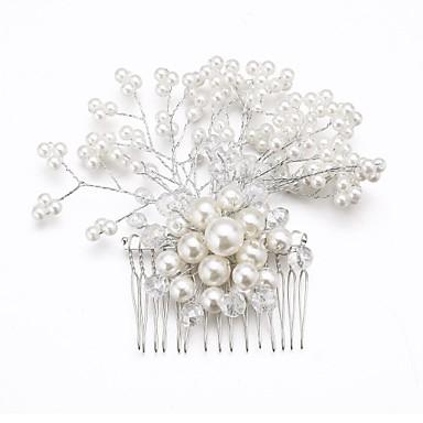 Kristal İmitasyon İnci Kumaş alaşım - Tiaras Saç Combs Çiçekler 1 Düğün Özel Anlar Parti / Gece Başlık