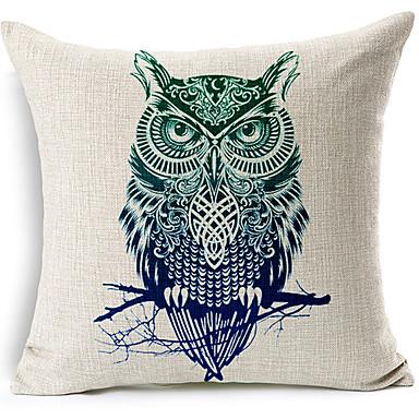modemodern tarzı baykuş desenli pamuk / keten dekoratif yastık kılıfı