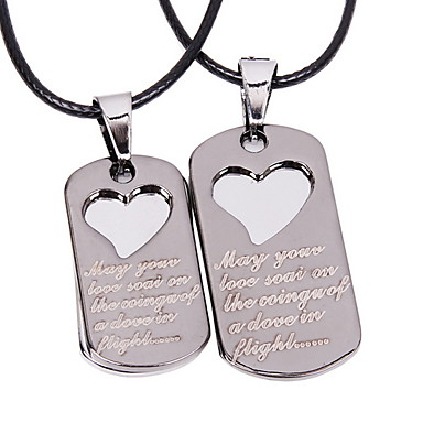 Fashion Alloy Heart Pendant Leather Couple Necklace(A pair of selling)