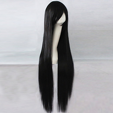 Synthetic Wig Straight Asymmetrical Haircut Synthetic Hair Natural Hairline Black Wig Women's Long Capless