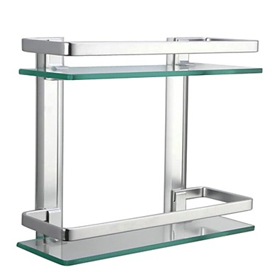 Bathroom Shelf / Aluminum Aluminum Tempered Glass /Contemporary