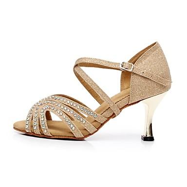 Kadın Latince Akın Işıltılı Simler Sandaletler Işıltılı Pullu Stiletto Topuk Altın Açık Mavi 7.5cm Kişiselletirilmemiş