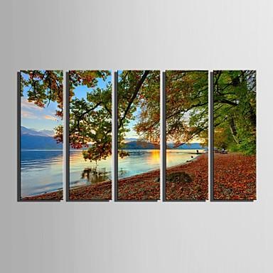 e-Home® gespannen doek zijt het meer landschap decoratie schilderij set van 5