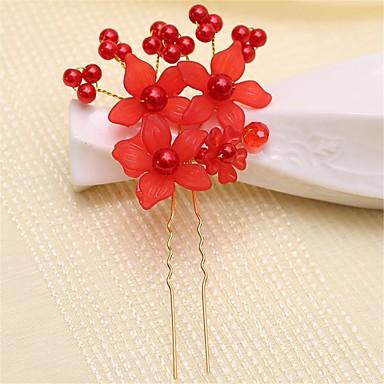 Gemstone & Crystal Acrylic Alloy Headpiece Hair Pin with Crystal 1 Wedding Party / Evening Headpiece