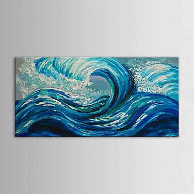 iarts olajfestmény modern táj kék óceán hullámai kézzel festett vászon feszített keret