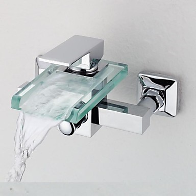 Contemporary Tub And Shower Waterfall Brass Valve Two Holes Single Handle Two Holes Chrome, Shower Faucet Bathtub Faucet