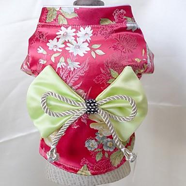 Hond Jurken Hondenkleding Bruiloft Cosplay Polka dots Geborduurd Roos Rood Groen Lichtblauw Donker paars
