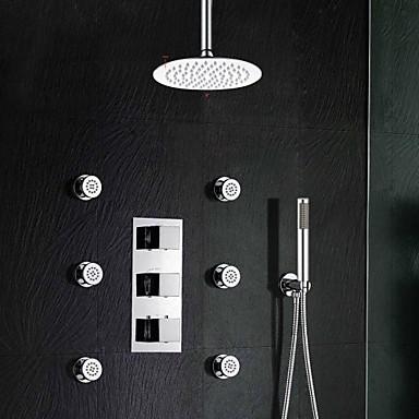 Buy Brass Thermostatic Shower Valve Stainless Steel 8 inch Round Rain Bathroom Faucet Spa Body Massage Spray Jets