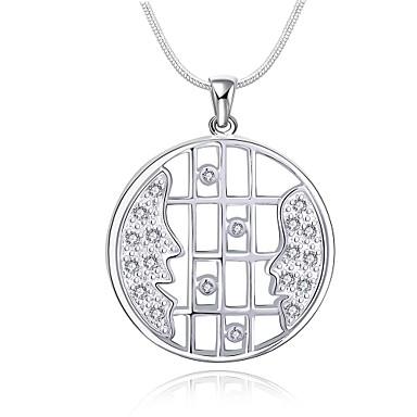 Naisten Choker-kaulakorut Riipus-kaulakorut Riipukset Circle Shape Geometric Shape Sterling-hopea Zirkoni Cubic Zirkoniaylellisyyttä