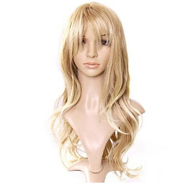 Synthetische Perücken Locken / Lose gewellt / Natürlich gewellt Gold Stufenhaarschnitt Synthetische Haare 22 Zoll Natürlicher Haaransatz Gold Perücke Damen Lang Kappenlos Hellblond