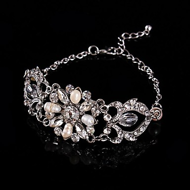 Vintage Luxurious Diamond Fresh Pearls Wedding Silver Bracelet For Women Lades Bridal Birthday GIft 1930's Wedding