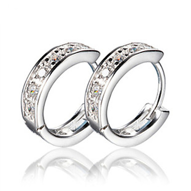 Women's Hoop Earrings Luxury Silver Imitation Diamond Jewelry Screen Color Costume Jewelry