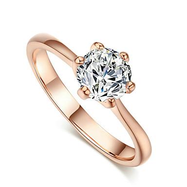 Damskie Kryształ Cyrkonia / Imitacja diamentu Pierścień oświadczenia - Klasyczny Pierścień Na Ślub / Impreza / Codzienny