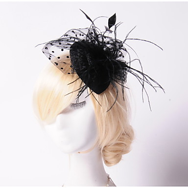 Pearl Crystal Feather Fabric Net Tiaras Fascinators Hats 1 Wedding Special Occasion Party / Evening Outdoor Headpiece
