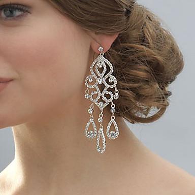 Dames Druppel oorbellen Bruids Kristal Strass Verzilverd Gesimuleerde diamant Legering Sieraden Bruiloft Feest