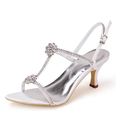 povoljno Ženske cipele-Žene Stiletto potpetica Štras Saten Salonke s T-remenom Proljeće / Ljeto Slonovača / Šampanjac / Crna