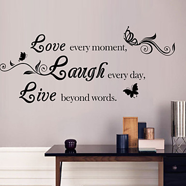 Words & Quotes Wall Stickers Plane Wall Stickers Decorative Wall Stickers, PVC Home Decoration Wall Decal Wall Glass/Bathroom Window