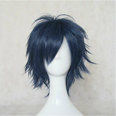 Top Quality Blue Cosplay Wigs Synthetic Hair Wig Man's Short Straight Animated Wig Party Wig