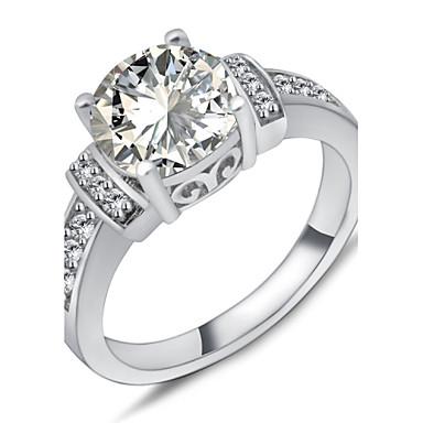 Damskie Pierścień oświadczenia White Syntetyczne kamienie szlachetne Cyrkon Cyrkonia Circle Shape Geometric Shape Modny Ślub Impreza