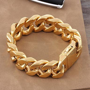 cheap Men's Bracelets-Men's Women's Chain Bracelet Titanium Steel Gold Plated Luxury Classic Bracelet Jewelry Gold For Wedding Daily