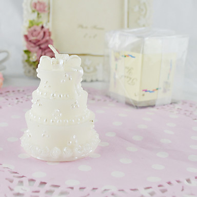 Classic Wedding Cake Candle in White-Set of 4pcs