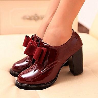 Women's Shoes Chunky Heel Heels/Round Toe Pumps/Heels Casual Black/Burgundy
