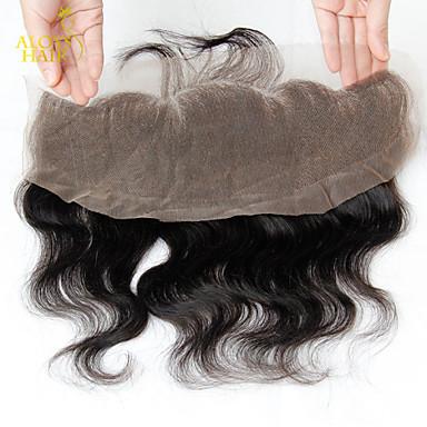 13 x 4 inch Черный Лента спереди Естественные кудри Человеческие волосы закрытие Светло-коричневый Швейцарское кружево 30g - 80g грамм