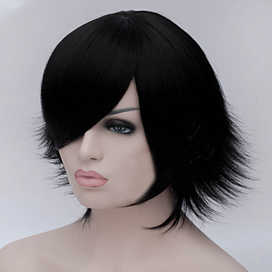 The New Cartoon Color Wig Black Become Warped Short Straight Hair Wig
