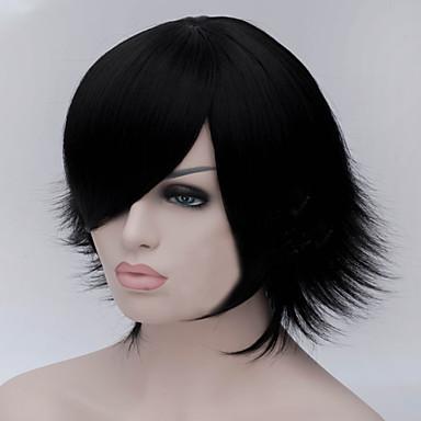 Yeni karikatür renk peruk siyah çarpık kısa düz saç peruk haline