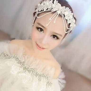 Crystal Imitation Pearl Lace Acrylic Fabric Silk Tiaras Head Chain 1 Wedding Special Occasion Party / Evening Headpiece
