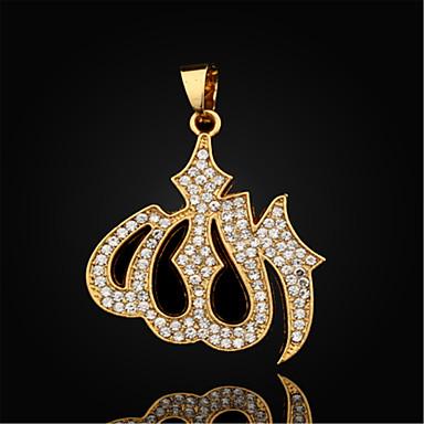 Men's Luxury Pendant Necklace Pendant Gold Plated Imitation Diamond Pendant Necklace Pendant , Daily Casual Sports