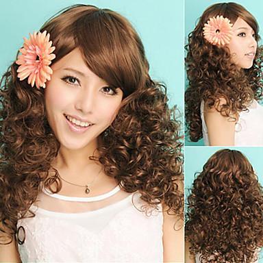 kadınlar Brezilyalı bakire saç rengi (# 1 # 1b # 2 # 4) kıvırcık saç dantel ön peruk