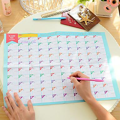 100 gün geri sayım takvimi güzel pratik çalışma çalışma takvimi (rasgele renk)