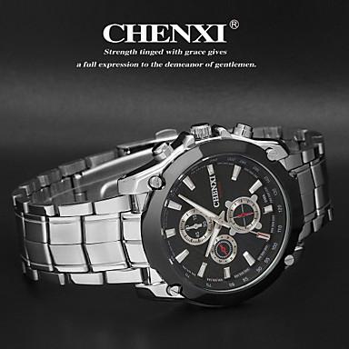 CHENXI® Erkek Bilek Saati Quartz Japon Kuvartz Gündelik Saatler Paslanmaz Çelik Bant Gümüş Beyaz Siyah
